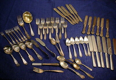 Vintage Lot of 55 Silver Silver Plate Assortment of Flatware