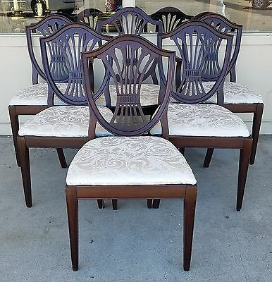 Set of 6 dining chairs incl Thomasville armchair, sheaf shield-back Sheraton