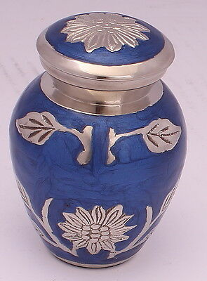 Mini keepsake urn for ashes ,Cremation Funeral Memorial small urn, Blue Flower
