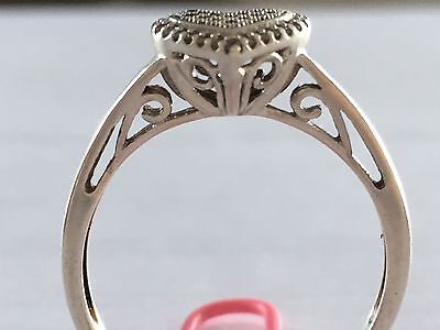 1940's Art Deco Sterling Silver Heart Ring With Genuine Diamonds