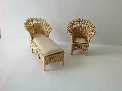 "Dollhouse Miniature Wicker Lounge And Chair Artist Pam Junk 1/12"" Scale"