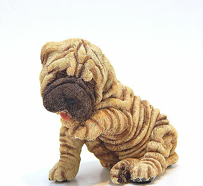 Vintage Living Stone Shar-Pei Puppy Wrinkled Dog Figurine Statue Resin