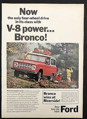 1966 Vintage Print Ad 1960s FORD BRONCO Truck Transportation Image Color