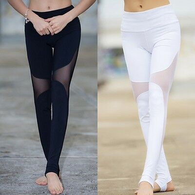 Womens Sports Gym Yoga Workout Mesh Leggings Fitness Leotards Athletic Pants hot