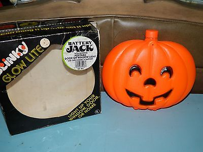 Vintage Blinky Glow Lite Battery Jack Blow Mold Halloween Pumpkin Decoration