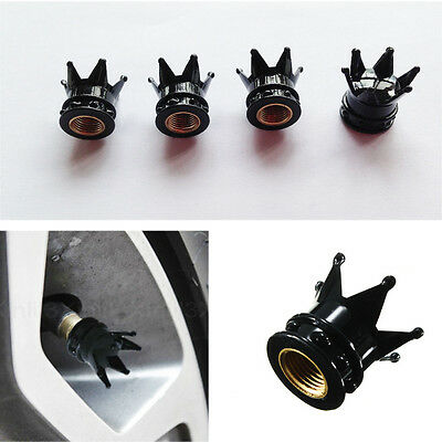 4 PCS Car Bicycle Motorcycle Chrome Crown Tyre Tire Wheel Stem Air Valve Cap New
