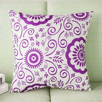 Purple Chinese Vintage Flower Linen Throw Pillow Case Home Sofa Cushion Cover