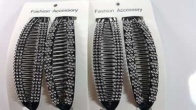 4 pcs NEW VINTAGE LARGE COMB BANANA CLIP HAIR RISER CLAW LOT