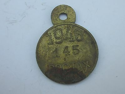 Old 1946 County of Kane Illinois Dog Tax License Tag #145