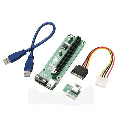 USB3.0 PCI-E PCI Express 1x to 16x Extender Riser Card Adapter SATA Cable 50cm