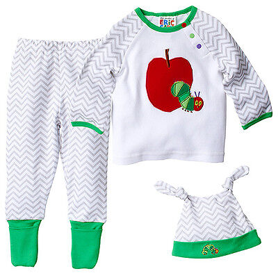 NWT The Very Hungry Caterpillar Licensed Boys Girls Set Pants Top Hat Size 0