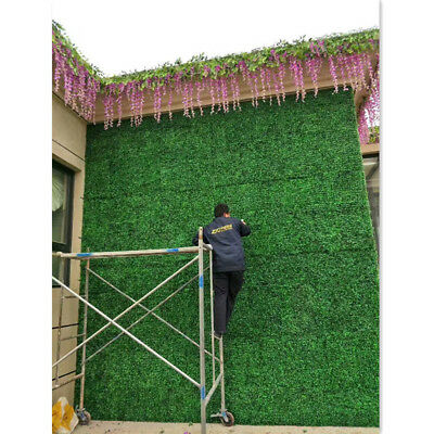 2 Pieces Artificial Turf Grass Lawn Rug Plastic Green Background Wall