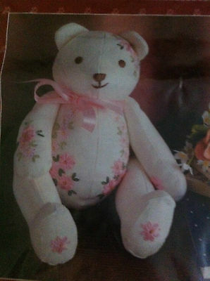 Gorgeous Semco V.i.b. Embroidery Bear Kit Complete & Unused As New Pink Flowers