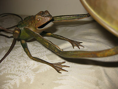 ANTIQUE Vintage Austrian Bronze FROG LAMP with Jeweled Shade - Extremely Rare!