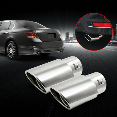 """Set of 2 Car Chrome Exhaust Rear Muffler Tip Pipe Fits Diameter 1 1/4"""" to 2"""""""