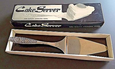 Vintage Antique Stainless Steel Ornate Floral Handle Cake Server Japan in Box