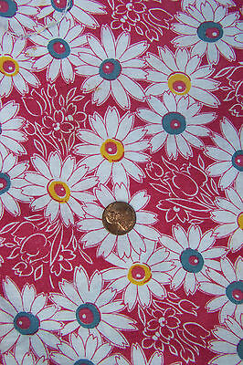 Vintage FEED SACK with WHITE DAISIES, Mulit-Colored Centers, Lots of RED