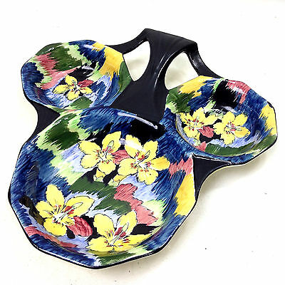 H&K TUNSTALL Glendale 3 Section Floral DISH Made in England Vintage
