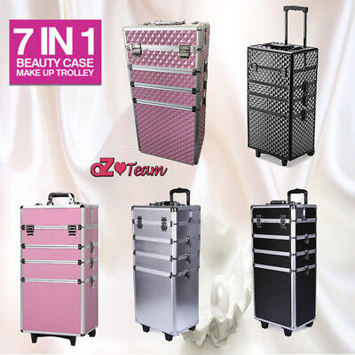 7 in 1 Portable Cosmetics Makeup Case Trolley Beauty  Box Carry Bag Organizer