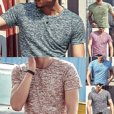 2017 Fashion Men's Men Short Sleeve Shirt Summer Casual Slim Fit T-shirt Tee Top