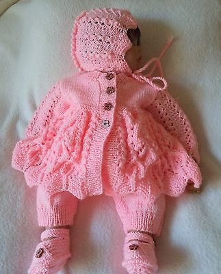 Pretty Hand Knitted Baby Girl or Reborn Baby Doll Pram Set Outfit 0 - 3 Months