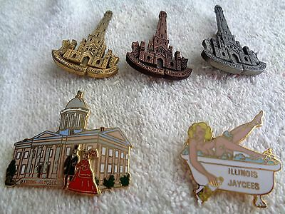 Five Illinois Jaycees Trading Pins--Three Chicago Water Tower--Old State Capitol