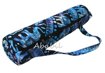 Indian Handmade Large Elephant Mandala Yoga Mat Carrier Bags with Shoulder Strap