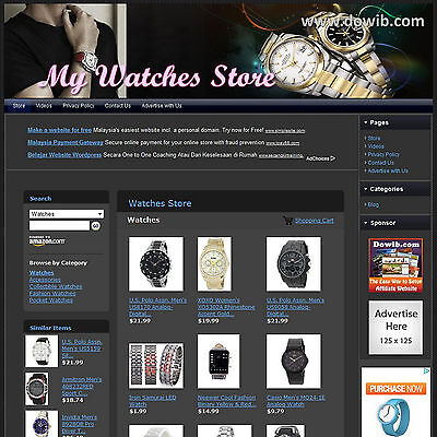 Established Watches Store Free Domain Business Website For Sale! Online Income!