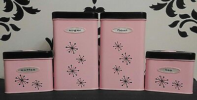 Pink Masterware Canisters Retro Starburst Set Co-W KitchenAid, Cuisinart