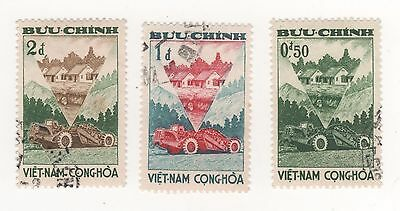 1961 South VIETNAM RURAL REFORM - TRACTORS & COTTAGES 3 Stamps to 2d. fv USED