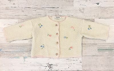Vintage Neiman Marcus Girls Ivory Sweater With Embroidered Flowers