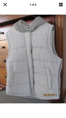JEANSWEST Ladies Size 14 Beige Quilted Sleeveless Jacket/Puffer Vest Hoody EUC
