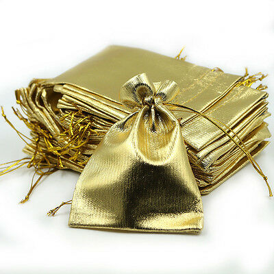 Gold 20Pcs Organza Jewelry Gift Wedding Favors Sheer Ornament Bag Pouch 7*9 CM