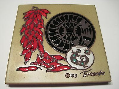 """Cleo Teissedre Tile, 6"""", 1983 Southwestern Chili Pepper"""