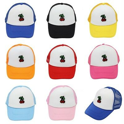 Boys Girls Baseball Cap Trucker Hat Cherry Pattern Children Mesh Caps Adjustable