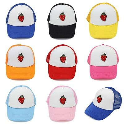 New Kids Baseball Cap Trucker Hat Strawberry Style Children Mesh Caps Adjustable