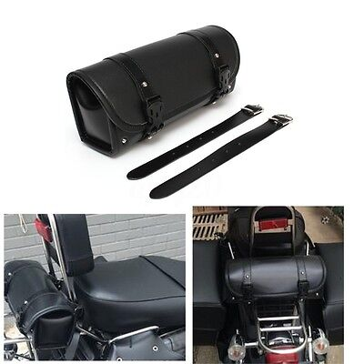 Motorcycle PU Leather Saddlebag Roll bag Storage Tool Pouch For Harley Davidson