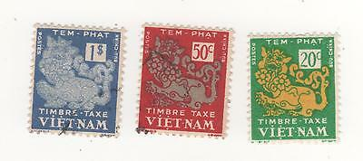 1952 VIETNAM I/S - DRAGON postage stamps x 3  mint (1) used (2)