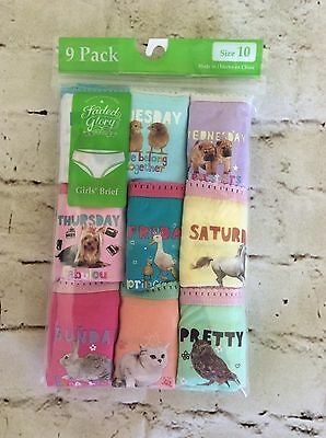 FADED GLORY ~9 PACK~ GIRLS BRIEF/UNDERWEAR ~ANIMALS w/ DAYS OF THE WEEK SIZE 8