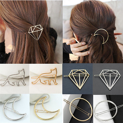 Fashion Women Cute Gold Silver Geometry Moon Hairpin Hair Clip Hair Accessories