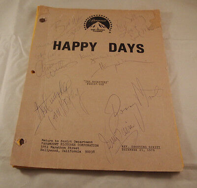 "Happy Days Rev Shooting Script ""The Hucksters"" Signed Cast Cover The Fonz Baio"