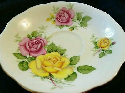 Htf Royal Standard Fine Bone China England Saucer Yellow Pink Roses Old Foley