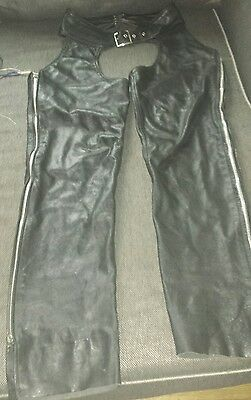 Protech Black Leather Apparel  Motorcycle Riding Chaps Size Large MADE IN USA