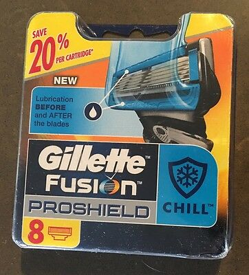 Gillette Fusion Proshield - CHILL - 1 Packet of 8 Cartridges Brand New Sealed