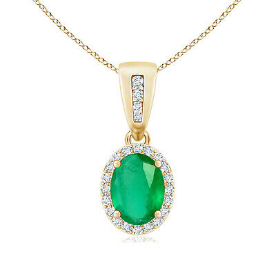 "Oval Emerald With Diamond Halo Pendant Necklace 14K Yellow Gold 18"" Chain"