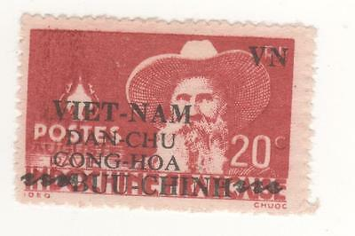 1945 VIETNAM D.R. 20C. Red INDOCHINA - INDEPENDENCE OVERPRINT-  SG#23 mint MM MH