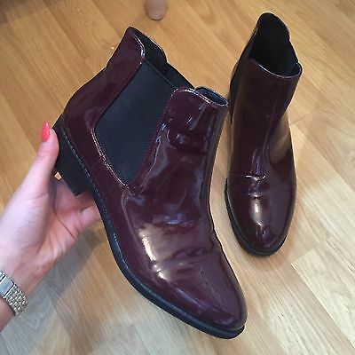 River Island Burgundy Patent Chelsea Boots- Size 5