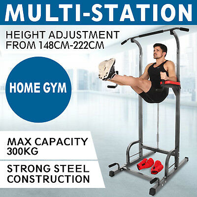 5IN1 Dip Station Chin Up Tower Rack Pull Up Pull Up Bar Knee Raise Steel Frame