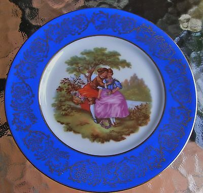 COLLECTABLE LIMOGES 'PRUSS BLUE' SELLING GREAT SIZE LOVER'S PLATE edged in GOLD