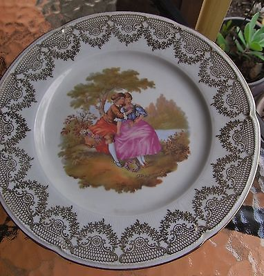 COLLECTABLE LIMOGES SELLING HUGE SIZE LOVER'S PLATE edged in GOLD